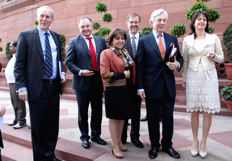The members of an European Union delegation during their visit to the Parliament in New Delhi, on March 16, 2015.