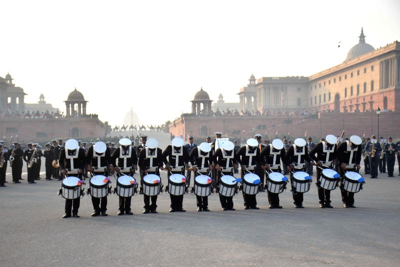 The members of the armed forces band rehearse for the beating retreat ceremony at Raisina Hills in New Delhi, on Jan 19, 2015.