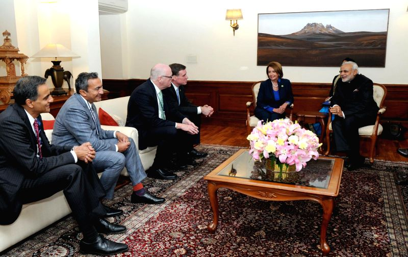 The Members of US Congress Nancy Pelosi, Mark Warner, Ami Bera and Joe Crowley call on the Prime Minister Narendra Modi, in New Delhi on Jan 26, 2015. - Narendra Modi