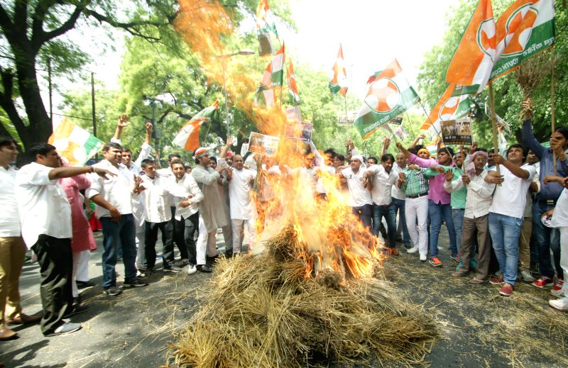 The members of Youth Congress Kisaan Morcha stage a demonstration against the land acquisition ordinance at Jantar Mantar in New Delhi, on April 27, 2015.