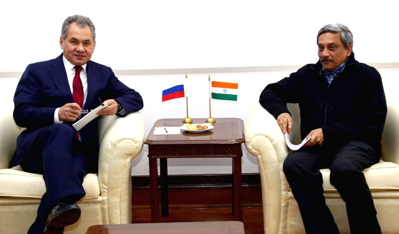 The Minister of Defence and General of Army of Russia Sergey K. Shoygu calls on Union Defence Minister Manohar Parrikar, in New Delhi on Jan 21, 2015. - Manohar Parrikar