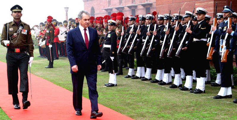 The Minister of Defence and General of Army of Russia Sergey K. Shoygu inspects the Guard of Honour, in New Delhi on Jan 21, 2015.