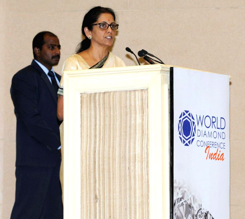 The Minister of State for Commerce and Industry (Independent Charge), Nirmala Sitharaman addresses at `World Diamond Conference`, in New Delhi on Dec 11, 2014.
