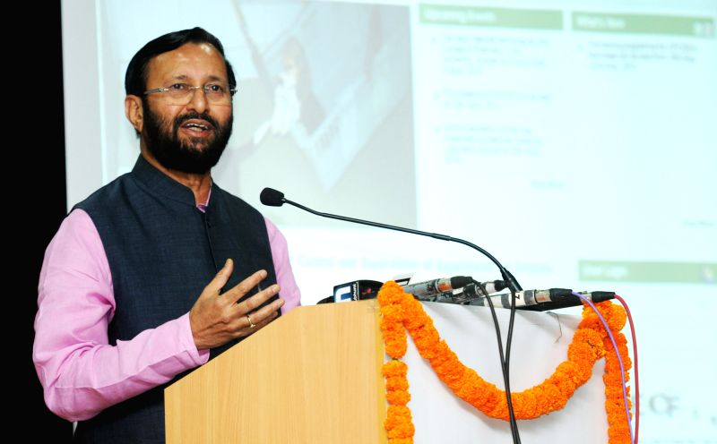 The Minister of State for Environment, Forest and Climate Change (Independent Charge) Prakash Javadekar addresses during the launch of the website of Committee for the Purpose of Control ...