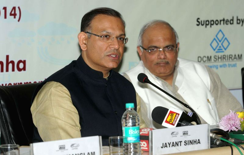 The Minister of State for Finance Jayant Sinha addresses at the One Day Certificate Training Programme–'Strategies for Result Oriented CSR', in New Delhi on Dec 18, 2014.