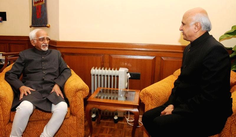 The newly appointed Secretary General of Lok Sabha Anoop Mishra calls on the Vice President Mohd. Hamid Ansari, in New Delhi on Dec 2, 2014.