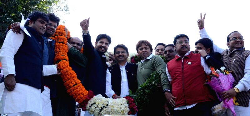 The newly elected president of Indian Youth Congress Amrinder Singh Raja Brar with Congressmen after his appointment in New Delhi, on Jan 5, 2015.