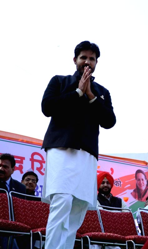 The newly elected president of Indian Youth Congress Amrinder Singh Raja Brar after his appointment in New Delhi, on Jan 5, 2015.