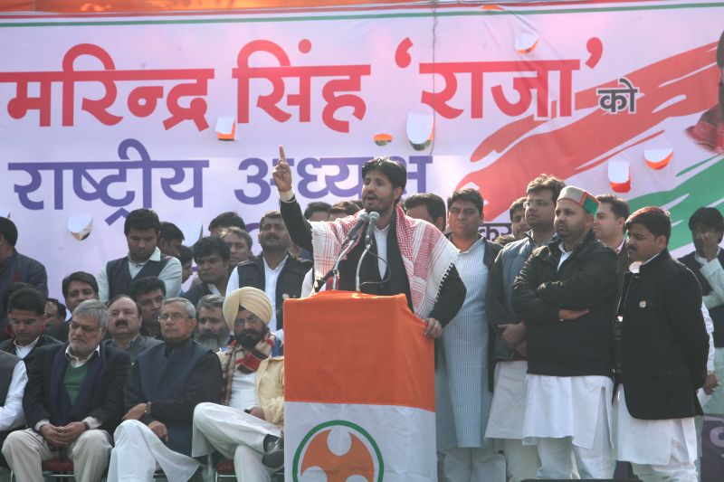 The newly elected president of Indian Youth Congress Amrinder Singh Raja Brar addresses after his appointment in New Delhi, on Jan 5, 2015.