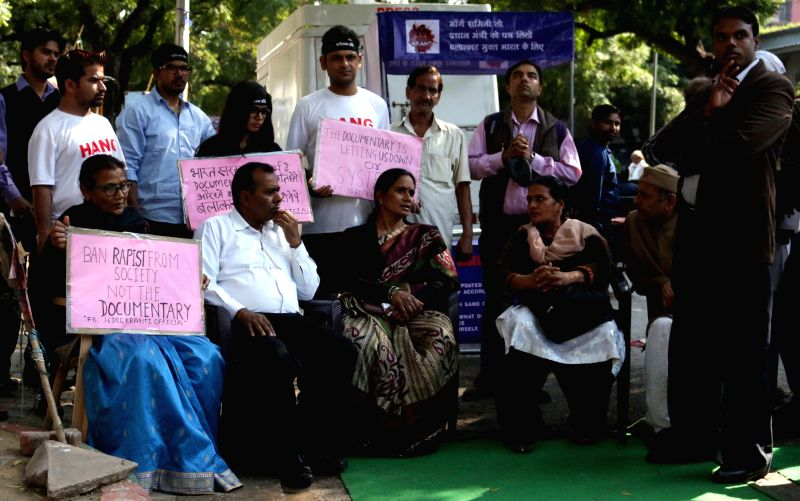 The parents of Nirbhaya - the victim of December 16, 2012 gang rape participates in a programme organised on International Women's Day at Jantar Mantar in New Delhi, on March 8, 2015.