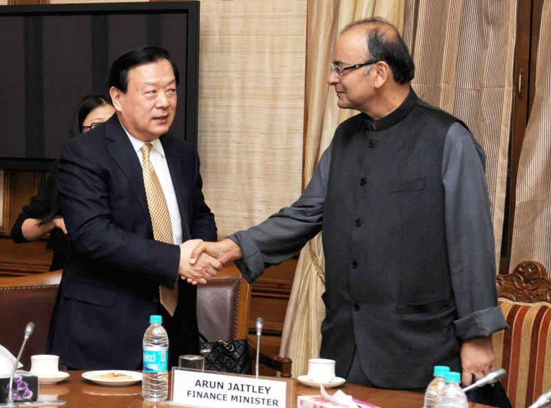 The Party Secy. of Zhejiang province, China, Xia Bolong calls on the Union Minister for Finance, Corporate Affairs, and Information and Broadcasting, Arun Jaitley, in New Delhi on Nov 26, .