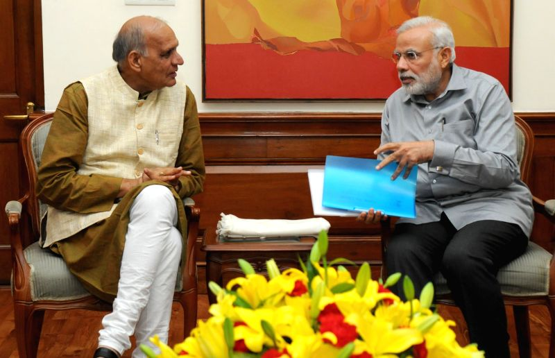 The President of Indian Australian Community Foundation, Dr. Nihal Agar calls on Prime Minister Narendra Modi, in New Delhi on March 8, 2015. - Narendra Modi