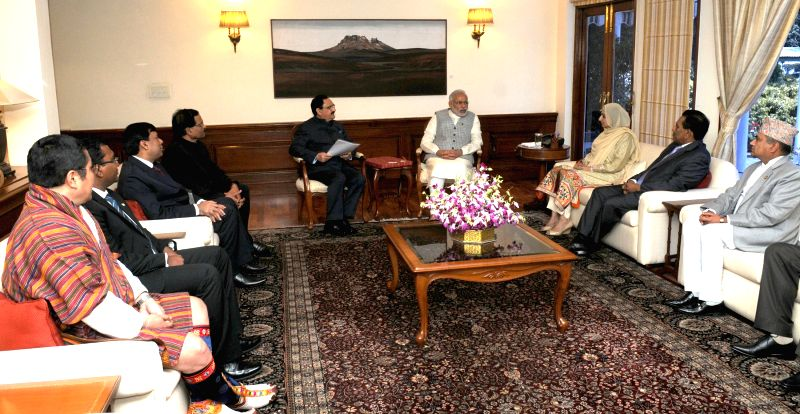 The SAARC Health Ministers calls on the Prime Minister Narendra Modi, in New Delhi on April 8, 2015. - Narendra Modi