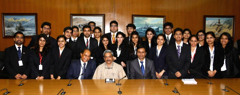 The selected students from Government Law College, Mumbai calls on the Defence Union Manohar Parrikar, in New Delhi on Feb 24, 2015.