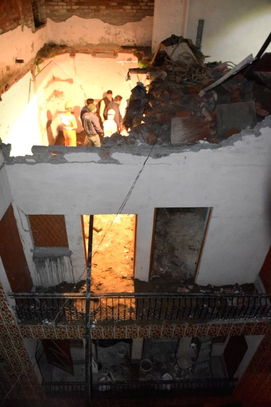 New Delhi: The site where an under-construction building collapsed, in north-east Delhi's Bhajanpura area on Jan 25, 2020.Ten persons were injured in the mishap.