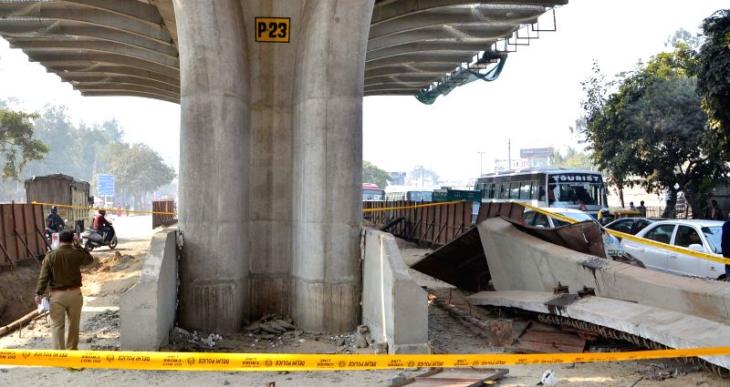The spot where an under-construction flyover collapsed in New Delhi's northwestern area of Pitampura on Feb 12, 2015.  At least three people were injured in the accident.