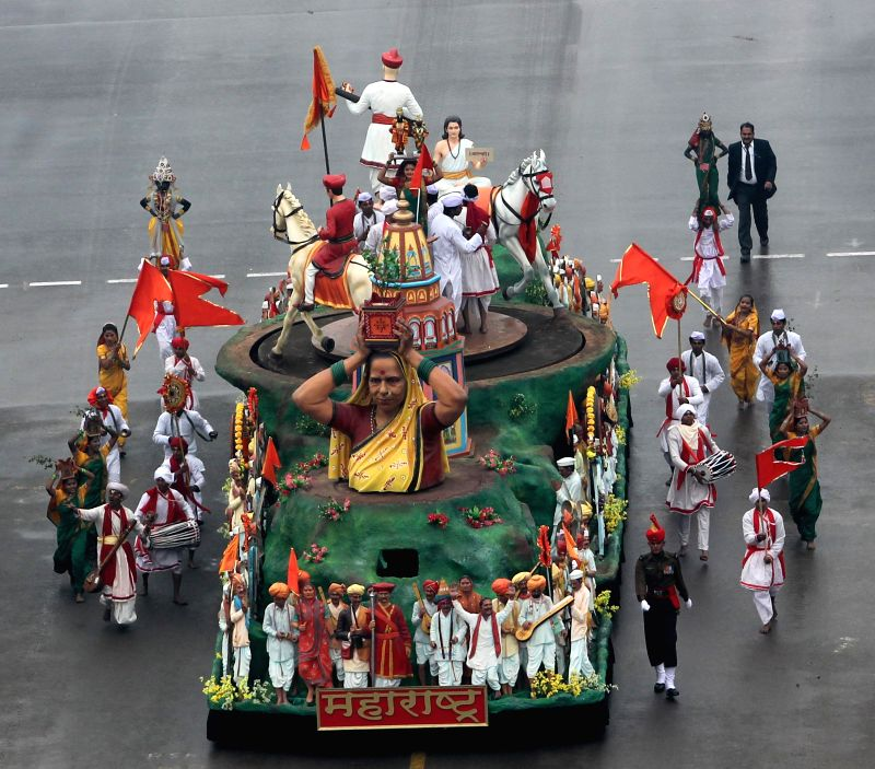 The tableau of Maharashtra during Republic Day celebrations at Rajpath in New Delhi, on Jan 26, 2015.