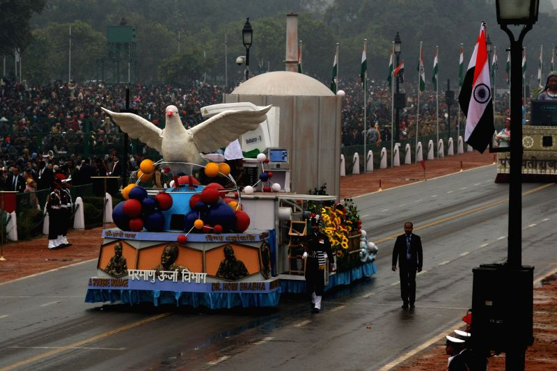 The tableau of the Department of Atomic Energy during Republic Day celebrations at Rajpath in New Delhi, on Jan 26, 2015.