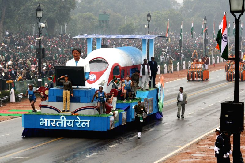 The tableau of the Indian Railways during Republic Day celebrations at Rajpath in New Delhi, on Jan 26, 2015.