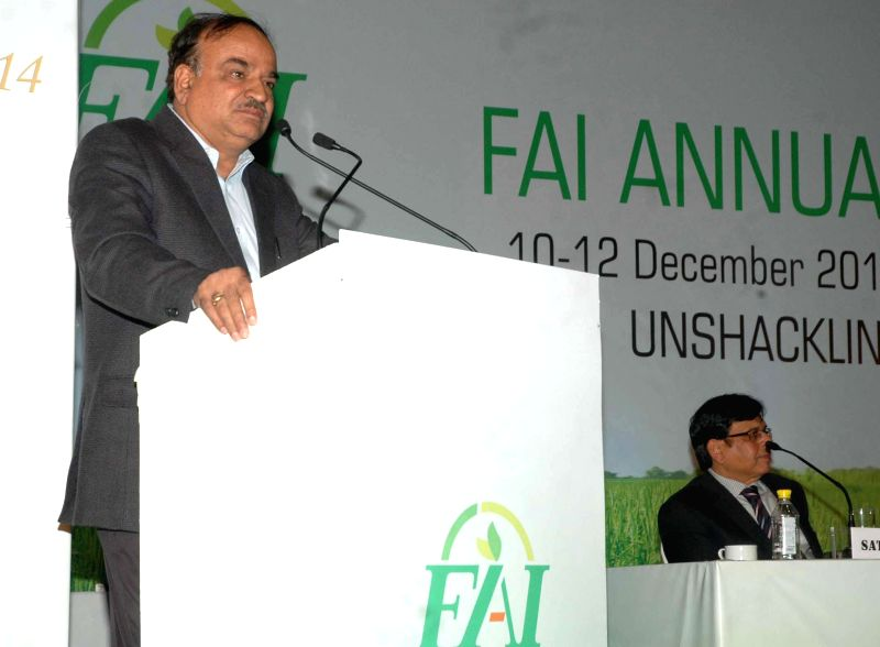 The Union Minister for Chemicals and Fertilizers, Ananth Kumar addresses at the inauguration of the Fertilizer Association of India's annual seminar 2014 on 'Unshackling the Fertilizer ..