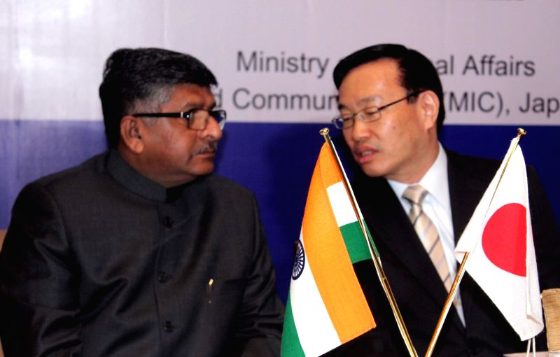 The Union Minister for Communications and Information Technology Ravi Shankar Prasad with the Japanese Vice Minister for Policy Coordination (International Affairs) Yasuo Sakamoto during ..