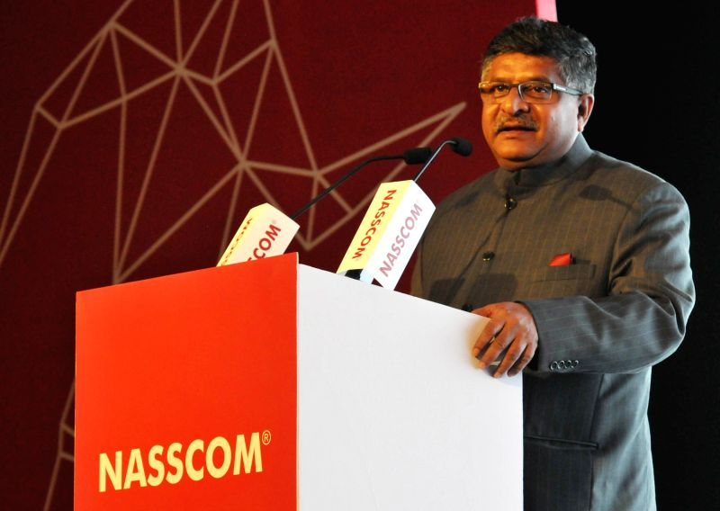 The Union Minister for Communications and Information Technology Ravi Shankar Prasad addresses at the Silver Jubilee Celebration Ceremony of NASSCOM, in New Delhi on March 1, 2015.
