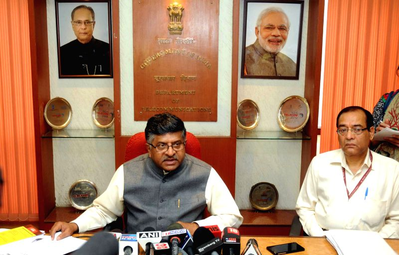 The Union Minister for Communications and Information Technology Ravi Shankar Prasad briefs press, in New Delhi on March 24, 2015.