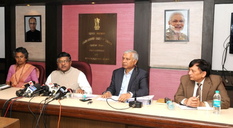 The Union Minister for Communications and Information Technology Ravi Shankar Prasad addresses a press conference regarding Telecom Spectrum Auction in New Delhi, on March 26, 2015.