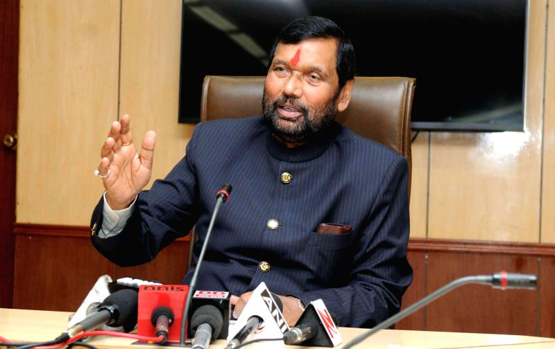The Union Minister for Consumer Affairs, Food and Public Distribution Ram Vilas Paswan addresses a press conference, in New Delhi on March 5, 2015.
