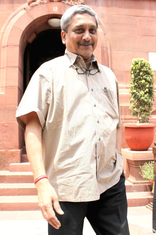 The Union Minister for Defence Manohar Parrikar at the Parliament in New Delhi, on April 28, 2015.