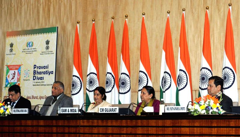 The Union Minister for External Affairs and Overseas Indian Affairs, Sushma Swaraj addresses a press conference regarding the forthcoming 13th Pravasi Bharatiya Divas (PBD)-2015 [slated to - Sushma Swaraj, Anandiben Patel and K. Singh