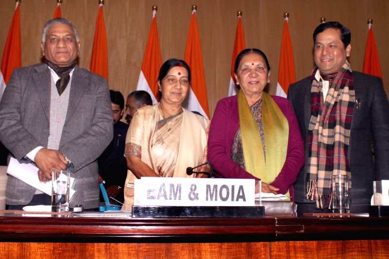 The Union Minister for External Affairs and Overseas Indian Affairs, Sushma Swaraj during a press conference regarding the forthcoming 13th Pravasi Bharatiya Divas (PBD)-2015 [slated to be - Sushma Swaraj, Anandiben Patel and K. Singh