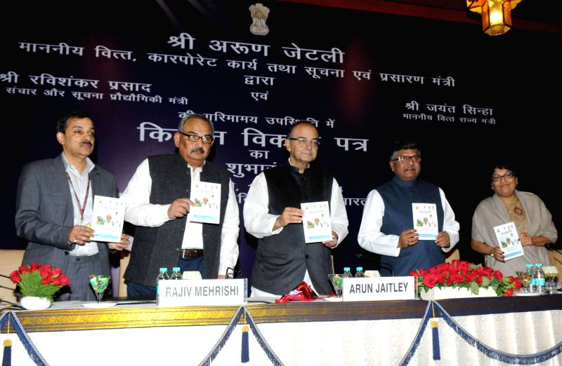 The Union Minister for Finance, Corporate Affairs, and Information and Broadcasting Arun Jaitley and the Union Minister for Communications and Information Technology Ravi Shankar Prasad ...