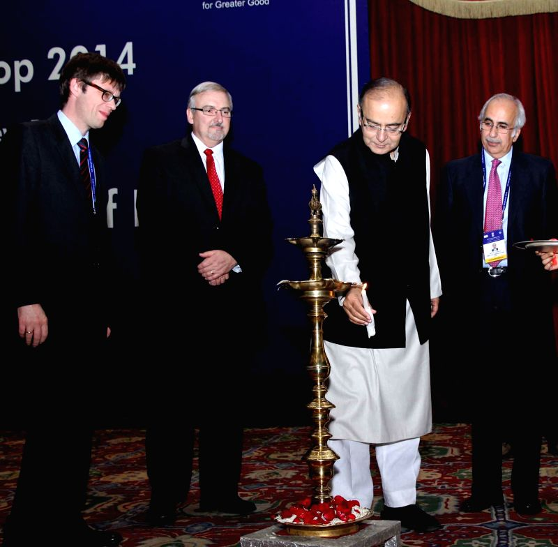 The Union Minister for Finance, Corporate Affairs, and Information and Broadcasting Arun Jaitley at the ICN Merger Workshop 2014 organised by the Competition Commission of India (CCI), in .