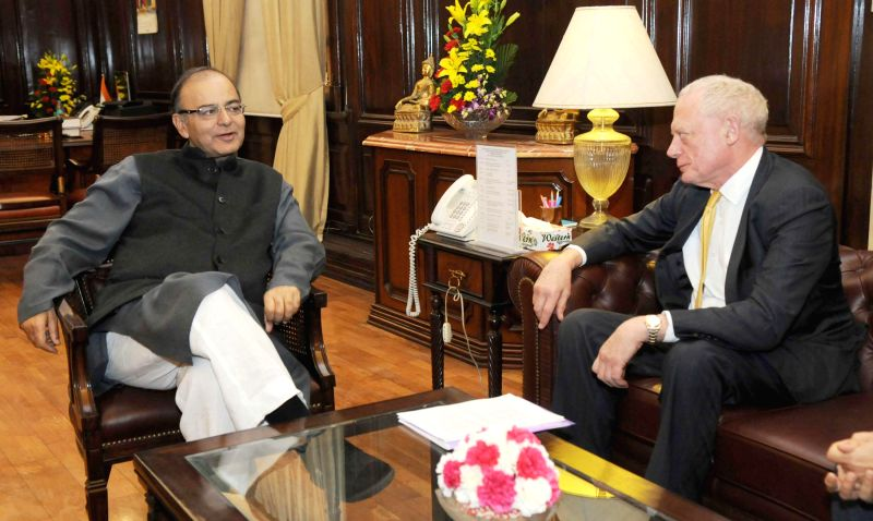 The Union Minister for Finance, Corporate Affairs and Information and Broadcasting, Arun Jaitley meets the Lord Mayor, City of London, UK, Alan Yarrow, in New Delhi on Dec 8, 2014.