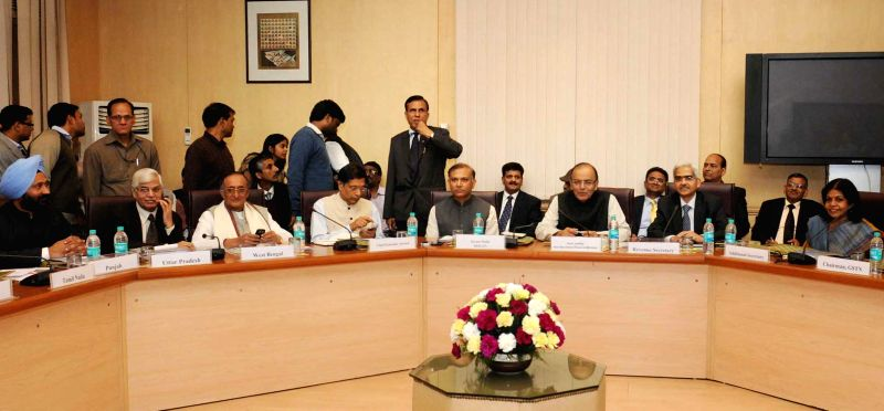 New Delhi : The Union Minister for Finance, Corporate Affairs, and Information and Broadcasting, Arun Jaitley during a meeting with the Chairman and Members of the Empowered Committee of State ...