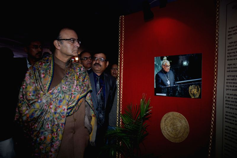 The Union Minister for Finance, Corporate Affairs and Information and Broadcasting, Arun Jaitley at an exhibition on former prime minister Atal Bihari Vajpayee, in New Delhi on Dec 20, ...