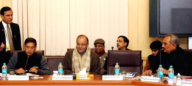 The Union Minister for Finance, Corporate Affairs and Information and Broadcasting Arun Jaitley at the Pre-Budget consultative committee meeting, in New Delhi on Jan 6, 2015.