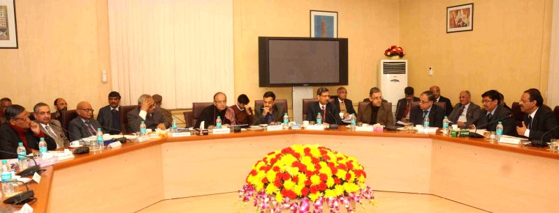 New Delhi : The Union Minister for Finance, Corporate Affairs and Information and Broadcasting Arun Jaitley during a meeting with the selected PSU Heads, in New Delhi on Jan 13, 2015.
