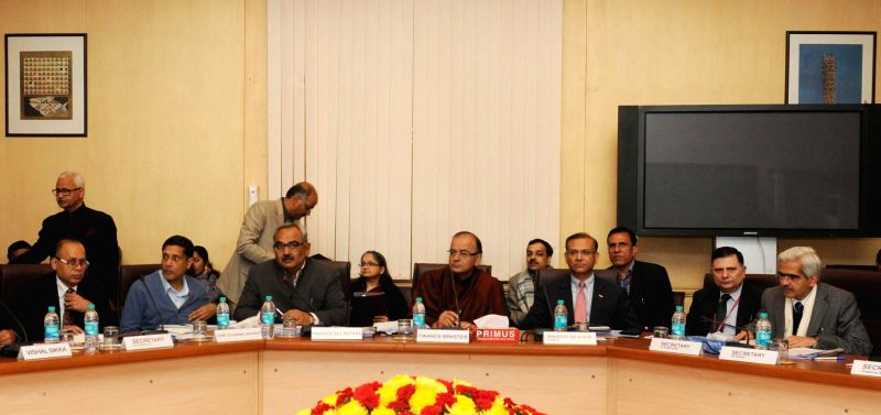 The Union Minister for Finance, Corporate Affairs and Information and Broadcasting Arun Jaitley at the Pre-Budget Consultation with the representatives of IT Sector (Hardware and ...