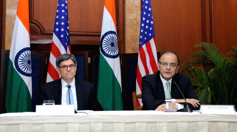 The Union Minister for Finance, Corporate Affairs and Information Arun Jaitley and the US Secretary for Treasury Jacob Lew address a joint press conference during the 5th Indo-US Economic .