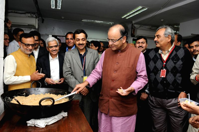 The Union Minister for Finance, Corporate Affairs and Information and Broadcasting Arun Jaitley at the Halwa ceremony to mark the commencement of Budget printing process for Interim Budget ... - Arun Jaitley