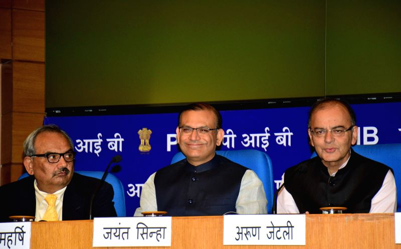 The Union Minister for Finance, Corporate Affairs, and Information and Broadcasting, Arun Jaitley, Union MoS Finance Jayant Sinha during a press conference regarding national budget ... - Jayant Sinha