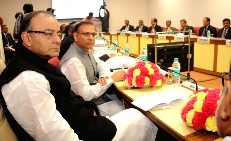 The Union Minister for Finance, Corporate Affairs, and Information and Broadcasting Arun Jaitley with Union MoS Finance Jayant Sinha during a Quarterly Performance Review Meeting with the ... - Arun Jaitley and Jayant Sinha