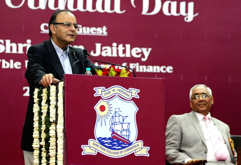 The Union Minister for Finance, Corporate Affairs and Information and Broadcasting, Arun Jaitley addresses at the 89th Annual Day Celebration of SRCC, in New Delhi on March 27, 2015. - Arun Jaitley