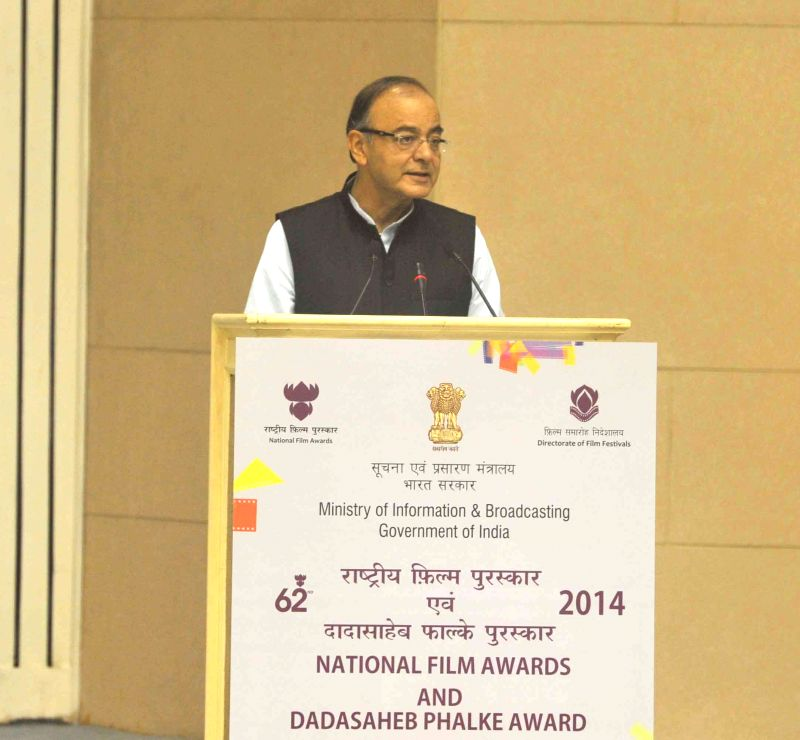 The Union Minister for Finance, Corporate Affairs and Information and Broadcasting, Arun Jaitley addresses at Vigyan Bhavan in New Delhi, on May 3, 2015. - Arun Jaitley