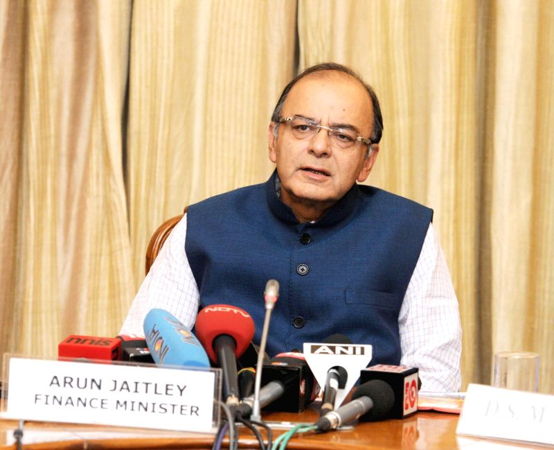 The Union Minister for Finance, Corporate Affairs and Information and Broadcasting, Arun Jaitley briefs media, in New Delhi on June 4, 2015.