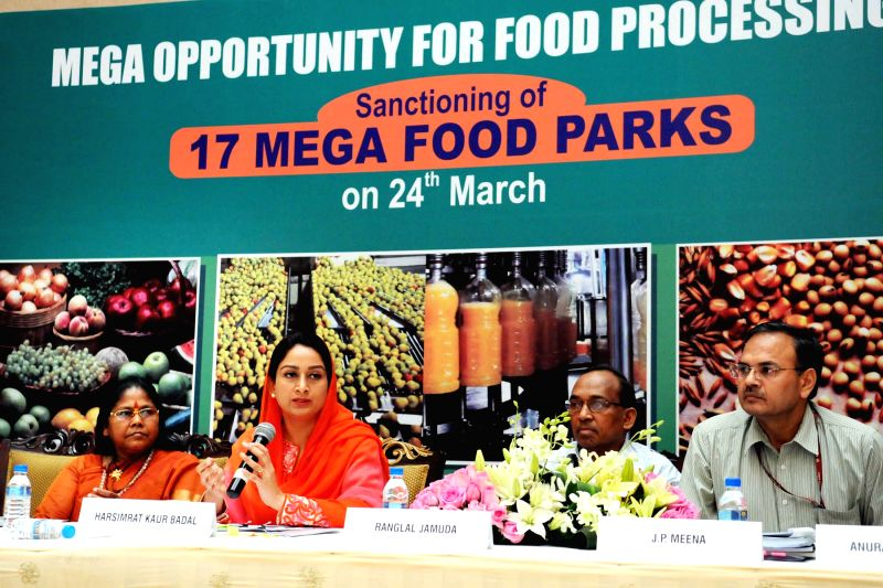 The Union Minister for Food Processing Industries Harsimrat Kaur Badal addresses a Press Conference on sanctioning of 17 Mega Food Parks, in New Delhi on March 24, 2015. Also seen the ...
