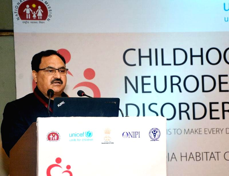 The Union Minister for Health and Family Welfare Jagat Prakash Nadda addresses at the National workshop on Neurodevelopmental Disorder in Children, on the occasion of the International Day