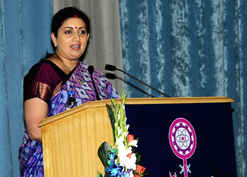 The Union Minister for Human Resource Development Smriti Irani addresses at the National Workshop on `Women Innovators for Excellence in Research and Science` WINNERS – 2015, in New ...
